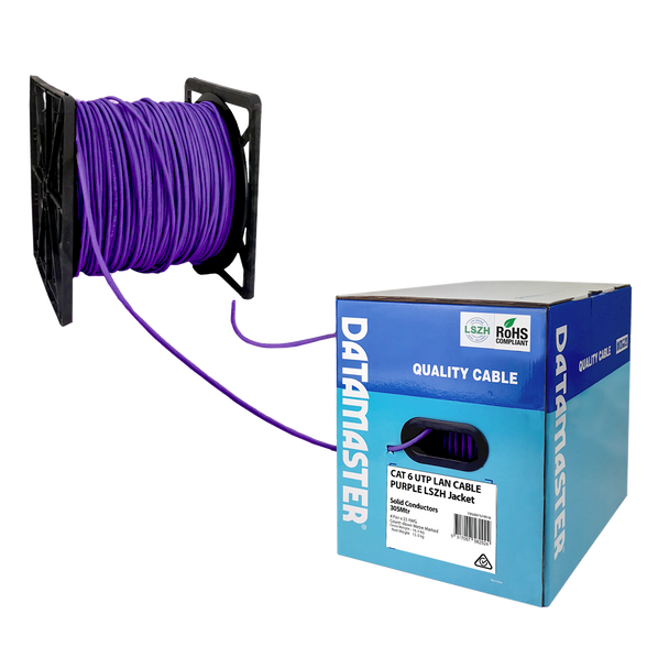 Cat6 Solid Cable; UTP Cable 305m Reel In Box: Purple