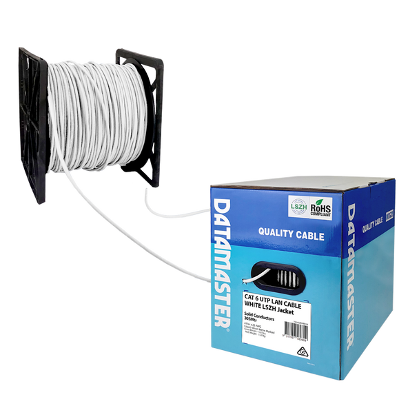 Cat6 Solid Cable; UTP Cable 305m Reel In Box: White