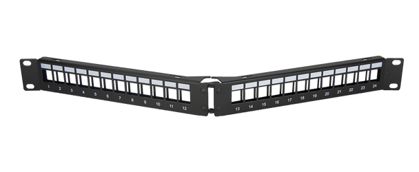 24 Port Angled Keystone Patch Panel