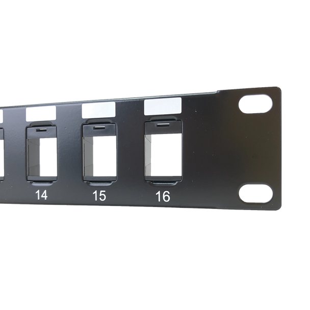 16-Port 1RU Keystone Panel Unloaded