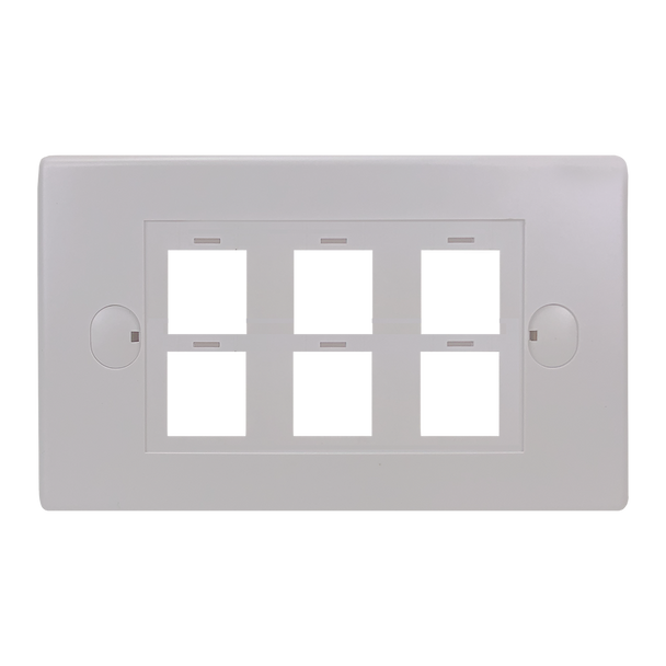 6Port Keystone Flush Plate - P4306