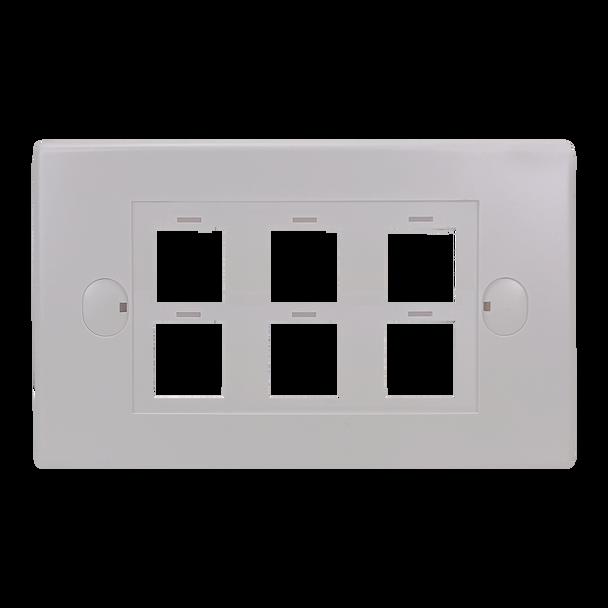6Port Keystone Flush Plate - P4306