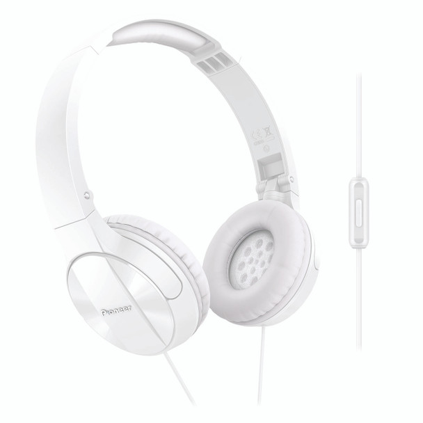 Pioneer Enclosed Dynamic Folding Headphones With Mic White - SEMJ503TW