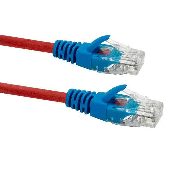 Cat5e Crossover Cable 2m; RED WITH BLUE BOOTS
