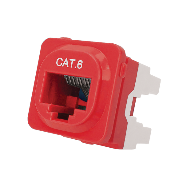 P4666RED-10 CAT-6 IDC DATA JACK RED
