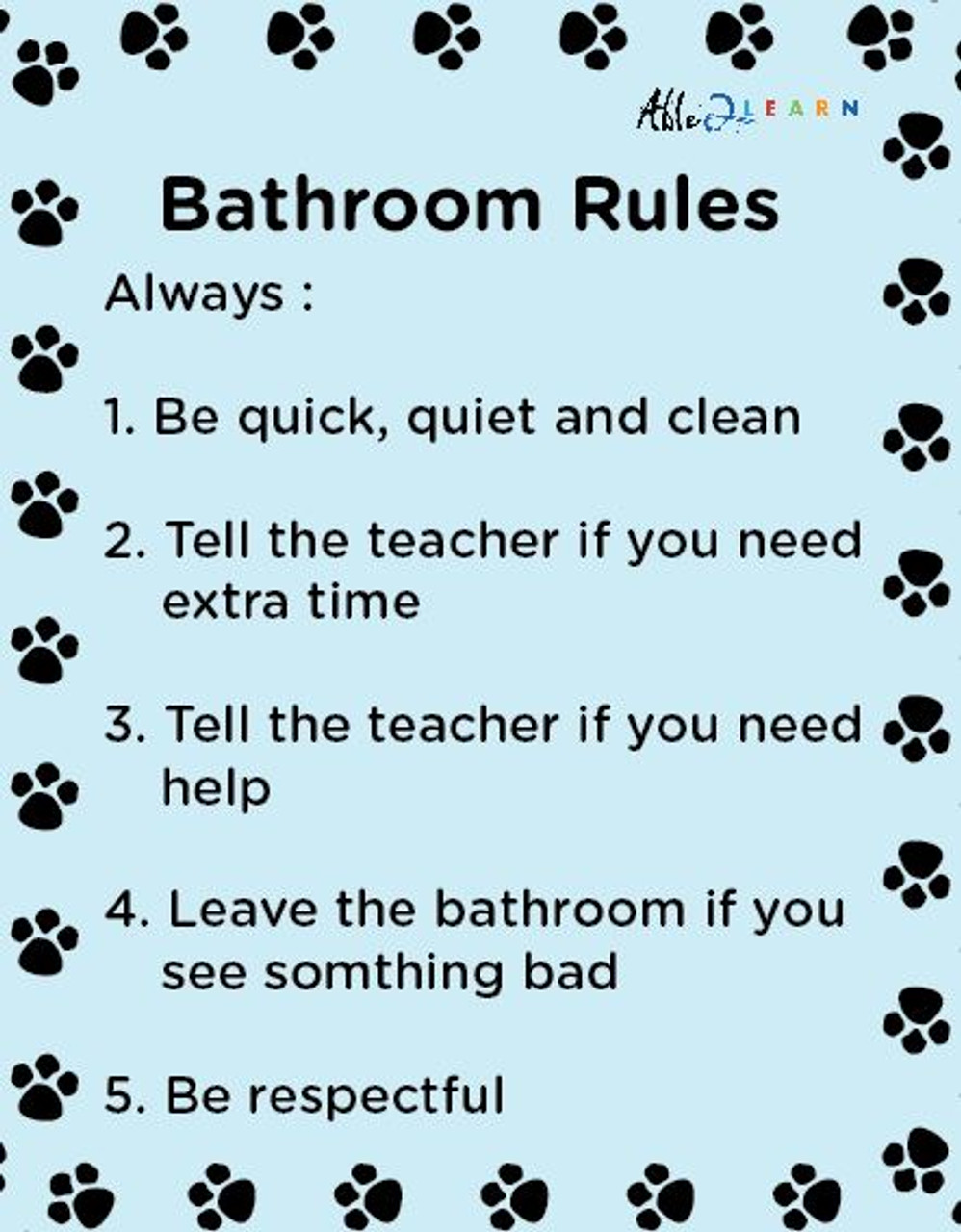 School Washroom Rules Poster Learning Washroom Skills Free