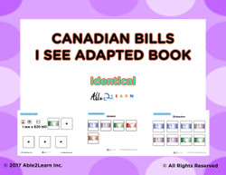 canadian money, identical money, free adapted books, free money adapted book, morning routine, free autism resources, free aba resources, free math resources, special education materials