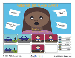 Past Present Future Verbs: Language Development, Reading and Matching Autism Resources, Aba resources, free flashcards, verb flashcards, ablls