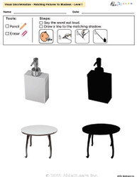 Visual Discrimination - Matching Pictures to Shadows - Household Items (Lv. 1)