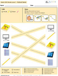 School Items Identical Picture  Matching Program with ABLLS-R™ Words (Lv. 1)