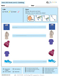 Clothing Identical Picture  Matching Program with ABLLS-R™ Words (Lv. 2)