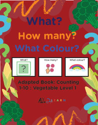 VEGGIE THEMED ADAPTIVE BOOKS - COUNTING 1 - 10 (LV. 1) -19 PAGES