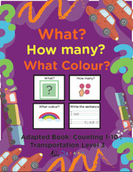 TRANSPORTATION THEMED PRINTING BOOK - COUNTING 1 - 10 (LV. ) 3-19 PAGES