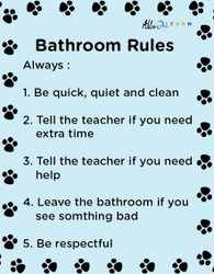 School  Washroom Rules Poster: Learning Washroom Skills:  PAGES 1