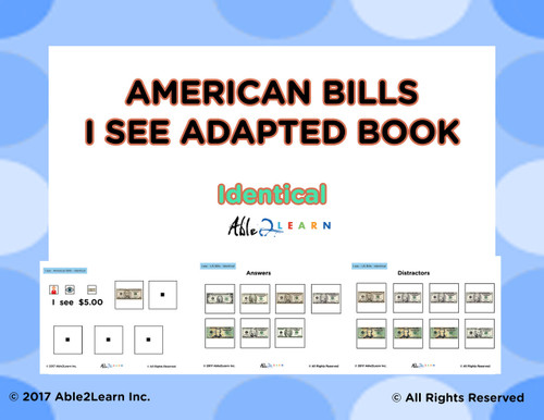 American Dollar Bills Identical Matching: Math Adapted Book: PAGES 12