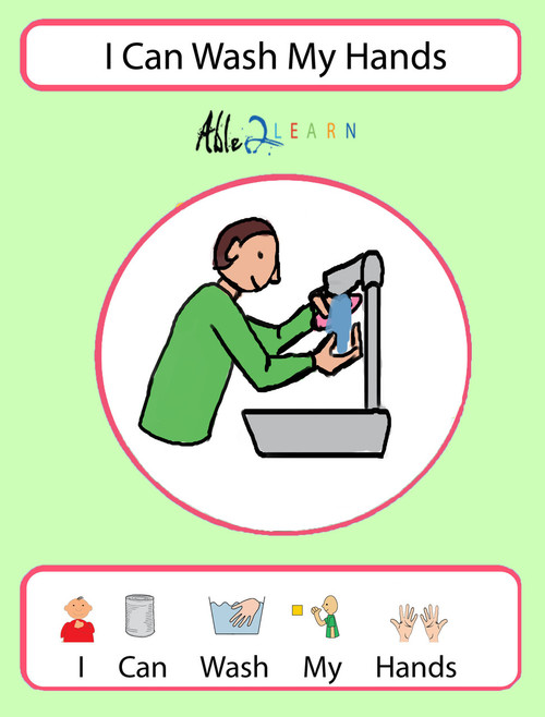 photograph about Free Printable Resources for Autism named Free of charge I Can Clean My Arms Social Tale