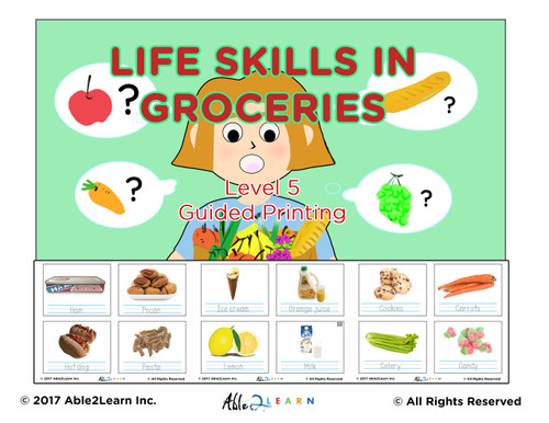Life Skills: Learning To Print (Tracing) Groceries: 100 Flashcards: Pages 27