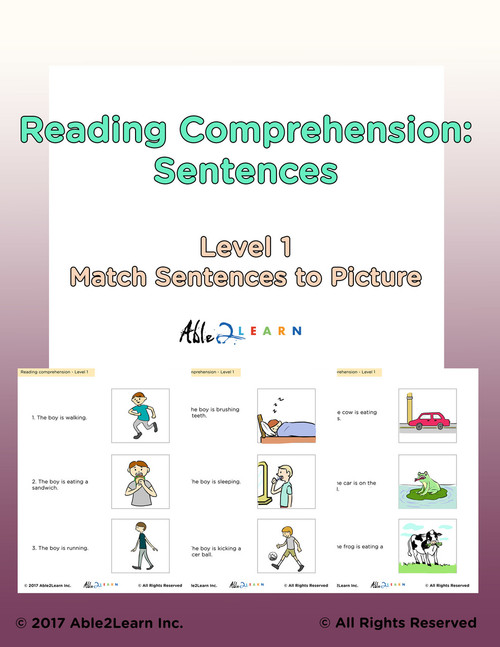 Reading Comprehension: Matching Simple Sentences To Pictures: Pages 22