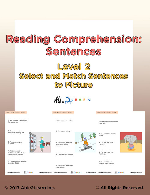 ReadingFree Reading Comprehension Workbook: Matching Simple ...