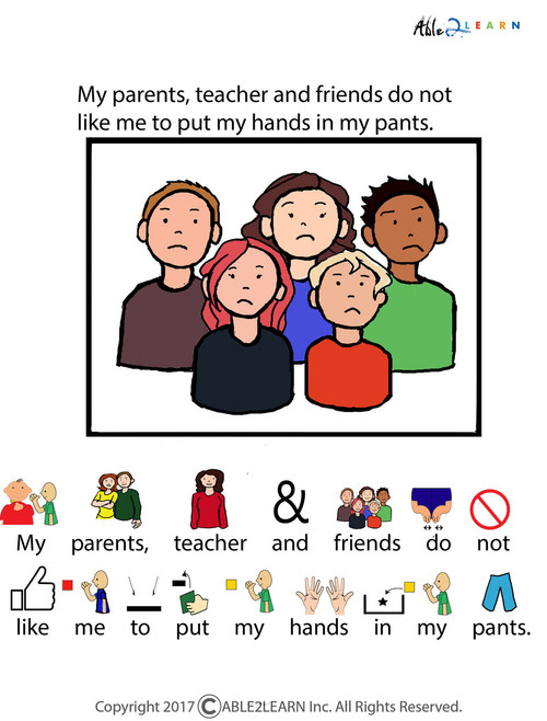 graphic about Printable Social Story titled I Will Not Spot My Fingers In My Trousers Social Tale: Web pages 7