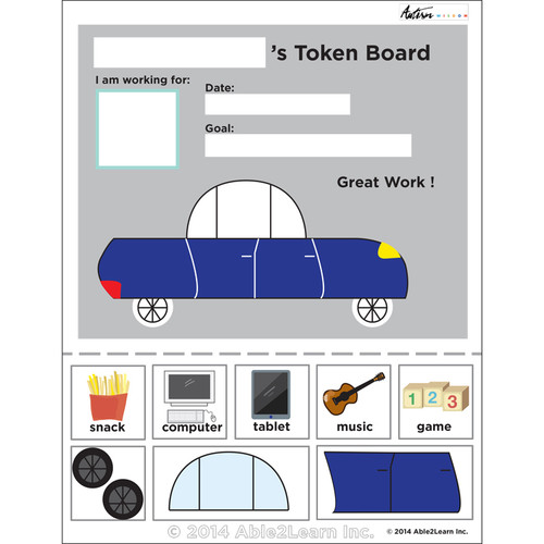 photo regarding Token Board Printable named Automobile Visible Token Board: ABA Products