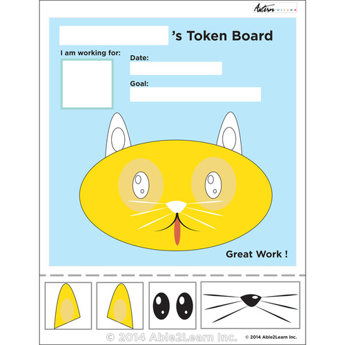 photograph relating to Token Board Printable called Cat Visible Token Board: ABA Materials