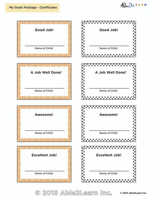 Rewards Chart: Reward Certificates :1 Page