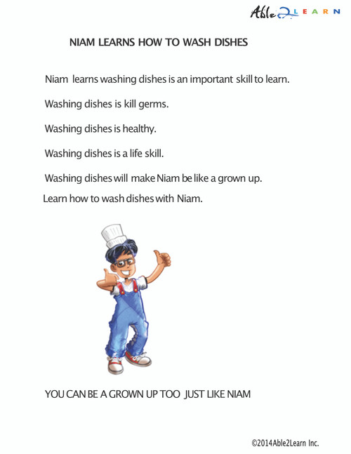 Niam Learns To Wash Dishes Social Story and Sequencing: 9 Pages
