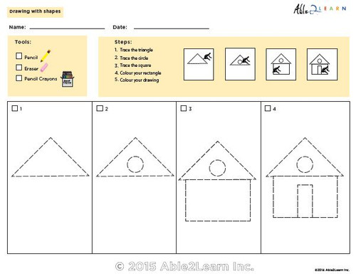 Drawing With Shapes How To Draw A House Able2learn Inc