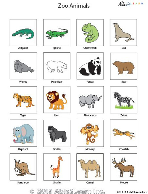 Pecs Zoo Animals Able2learn Inc