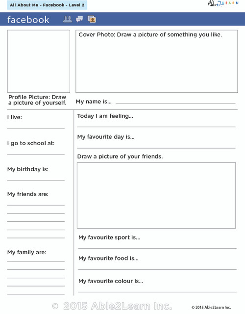Facebook Profile Writing Exercise (With Flash Cards)