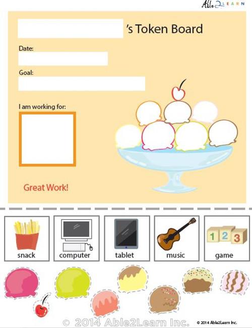 Token Board - Food Ice Cream - 8 Tokens