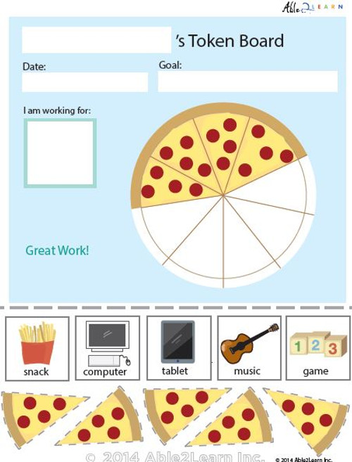 Token Board - Food Pizza - 5 Tokens