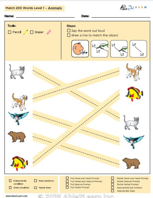 Animals Identical Picture Matching Program with ABLLS-R™ Words  (Lv. 1)