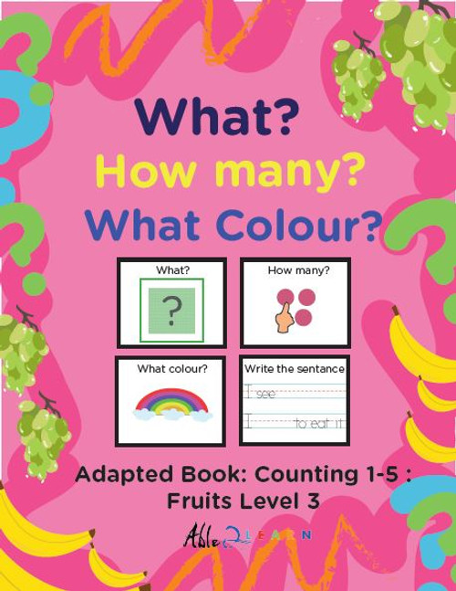 Fruit Themed Printing Book - Counting 1 - 5 (Lv. 3) -19 Pages