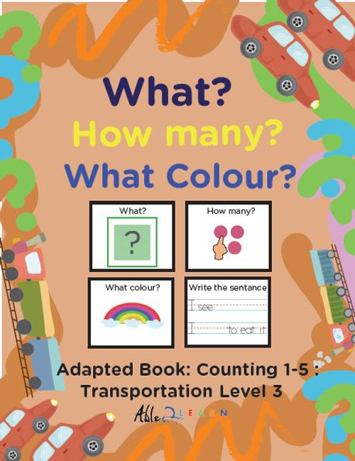 Transportation Printing Book: Counting 1 - 5 (Lv. 3) -19 PAGES