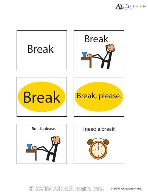 image relating to Break Cards for Students Printable identified as I Will need a Crack Flashcards: 2 Internet pages