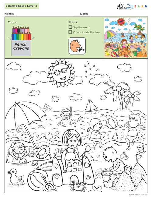 Colouring Scene Level 5: Black and White - Pages 9