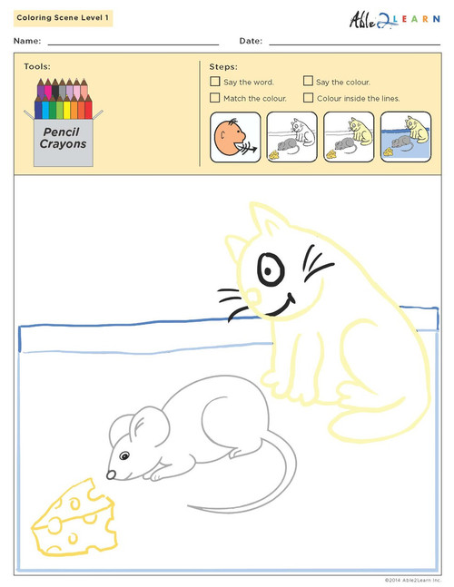 Colouring Sheets:  Scenes: Guided:  Level 1  - Pages 11