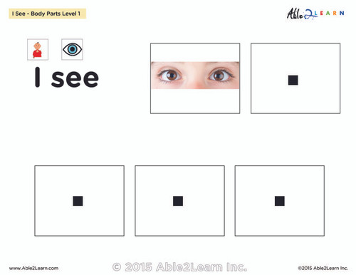 I SEE... Matching Identical Pictures - Body Parts - Adapted Book Level 1 - 35 PAGES