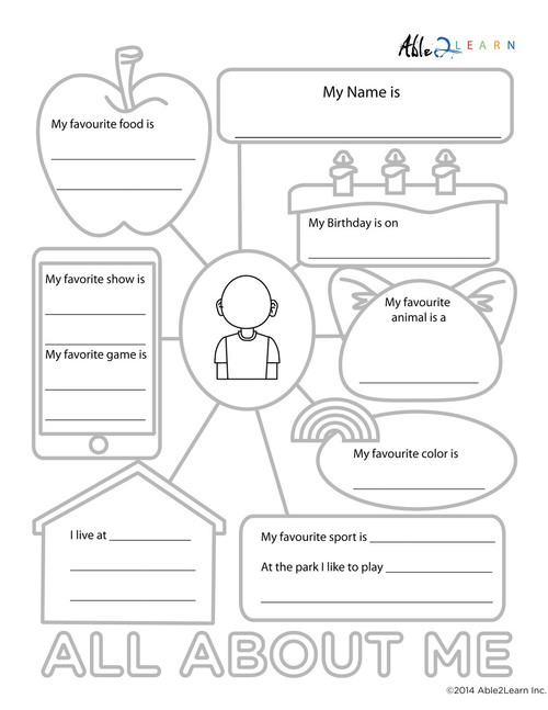 graphic regarding All About Me Free Printable Worksheet identify All Relating to Me Printable Worksheets: Totally free Training Supplies