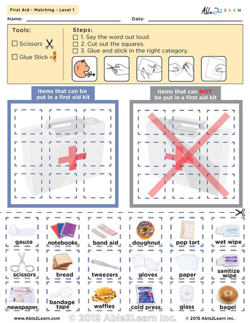 photo relating to First Aid Printable identify Find out In excess of 1st Guidance Package: SORTING: No cost PRINTABLE WORKSHEETS:
