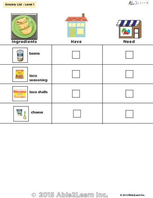 Taco With Beans and Cheese Visual Recipe And Comprehension Sheets: Pages 24