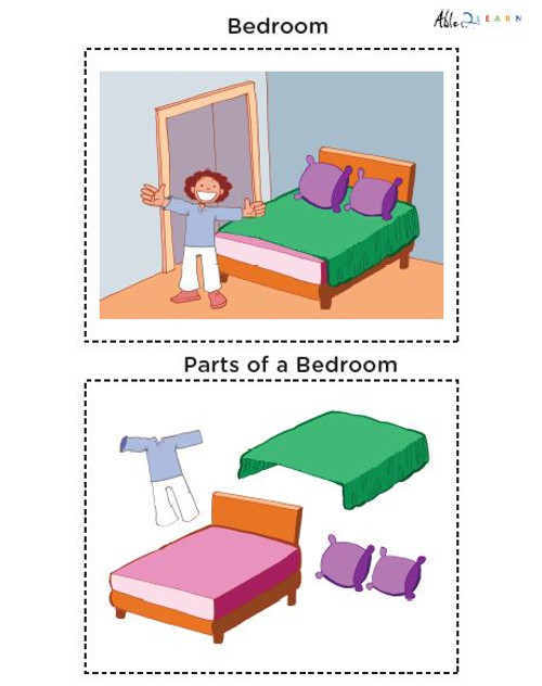 Learning Parts Of A Room: Flashcards: 7 Pages