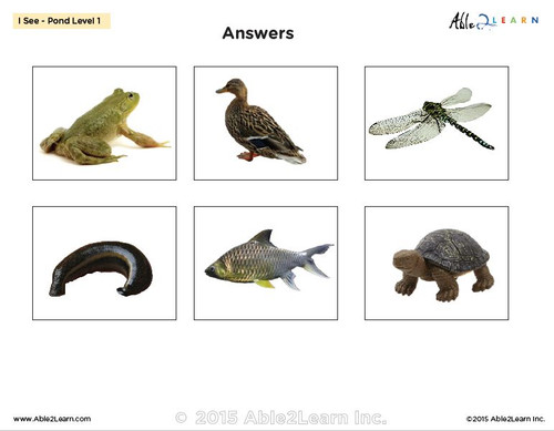 I SEE Pond Animals Habitat Adapted Books:  3 Levels: Matching, Guided Printing, Printing: 84 Pages