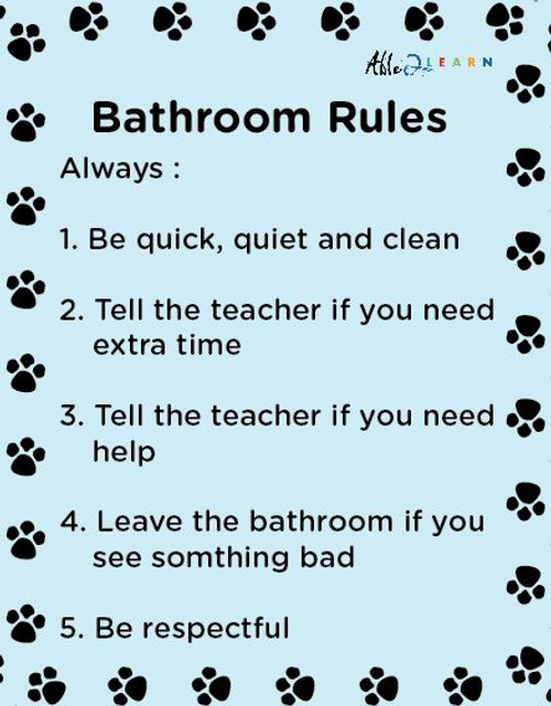 School  Washroom Rules Poster: Learning Washroom Skills:  PAGES 1