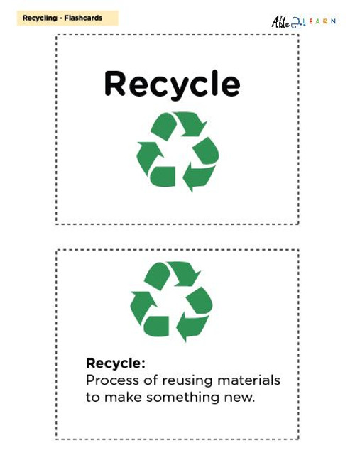 Recycling Flashcards Social Studies, Language Development, Earth Day: 11 Pages