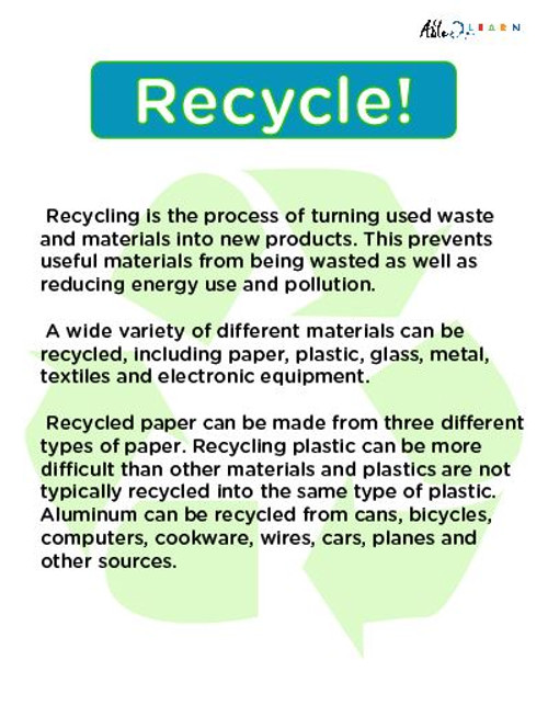 Recycling Facts Poster:  PAGES 1