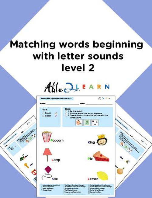 Phonics: Matching Words To The Same Sound Level 2: 11  Pages