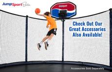 Elite 12' Trampoline with Enclosure basketball hoop